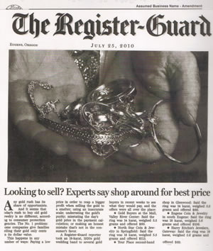 Register Guard Article about North Star Coin And Jewelry - proving how well they server Eugene and Springfield