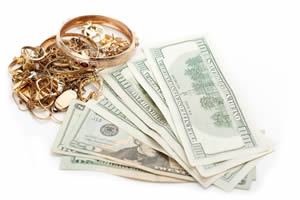 image of gold jewelry and cash - showing an example of what we buy
